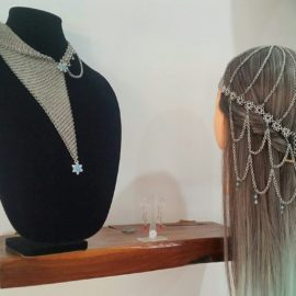 necklace and head piece display