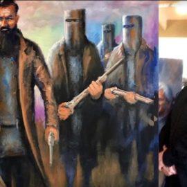 Joe Zapp with his portrait of Ned Kelly
